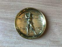 Early 20thC Joseph Walker Brass Golfer Coin Dish