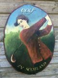 Vintage GOLF IN SCOTLAND hand painted wall plaque.